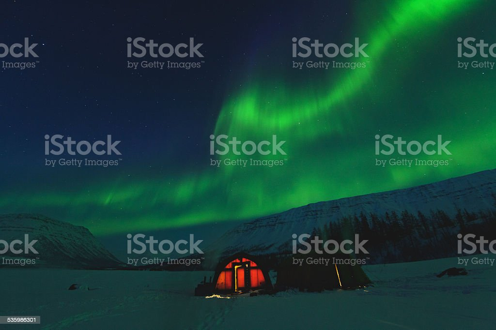 The polar lights to Putorana Plateau. Russia stock photo