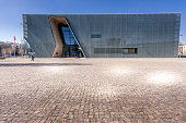 The Museum of the History of Polish Jews in Central Warsaw. View from outside of this stunning architecture