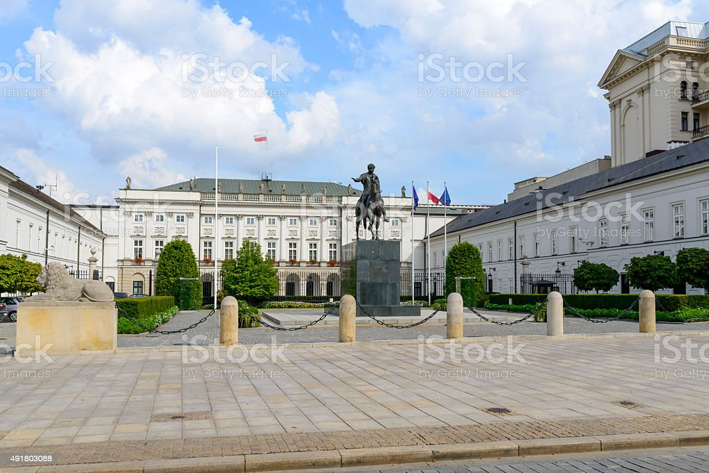 The Polish Presidential Palace in Warsaw stock photo