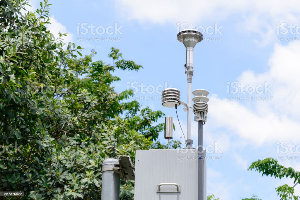 The pollution detector station stock photo