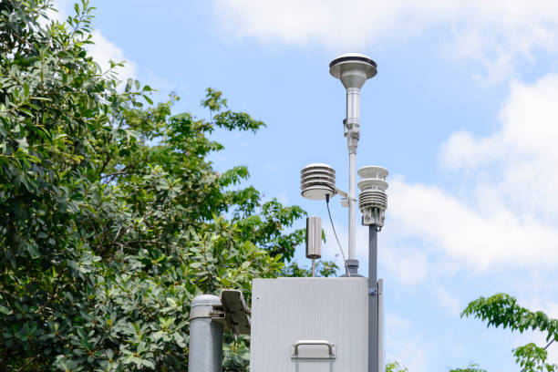 the pollution detector station - wind stock pictures, royalty-free photos & images