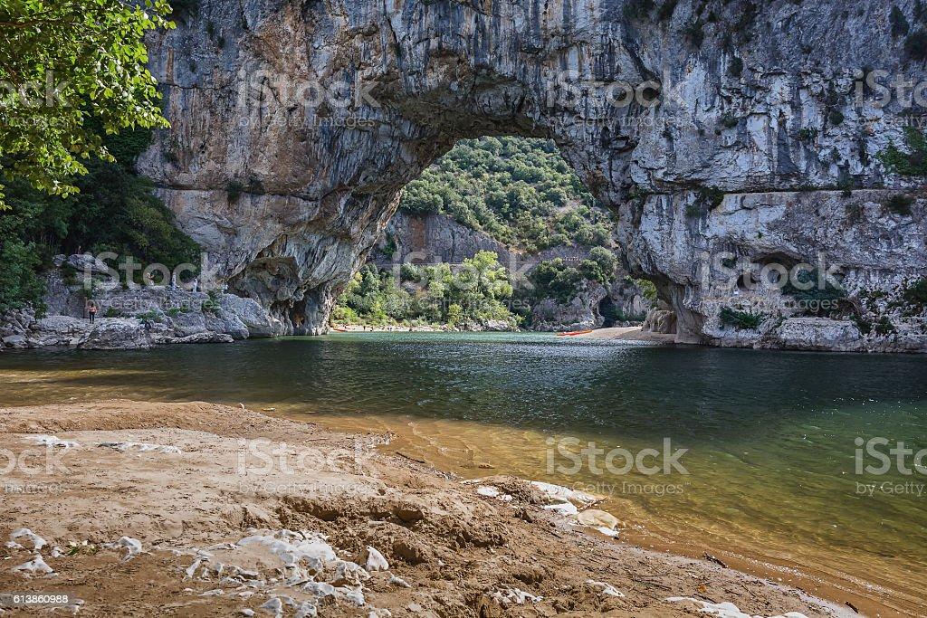 The Pont d'Arc is a large natural bridge. stock photo