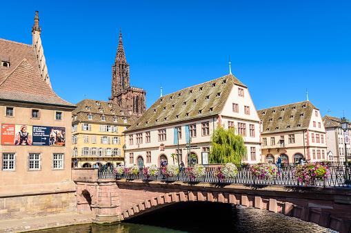 The Pont du Corbeau in front of the Historical Museum in Strasbourg, France.