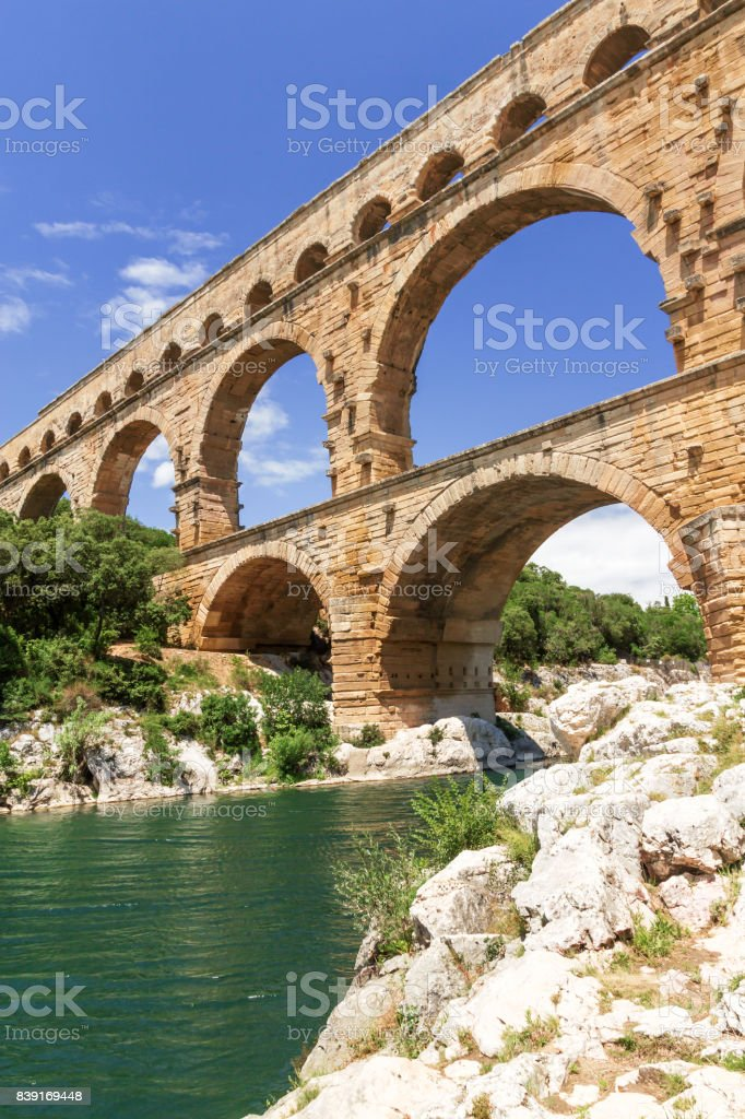 The Pont du Gard in France. Vertically. stock photo