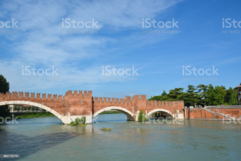 The Ponte Pietra, on the Adige river in Verona royalty-free stock photo
