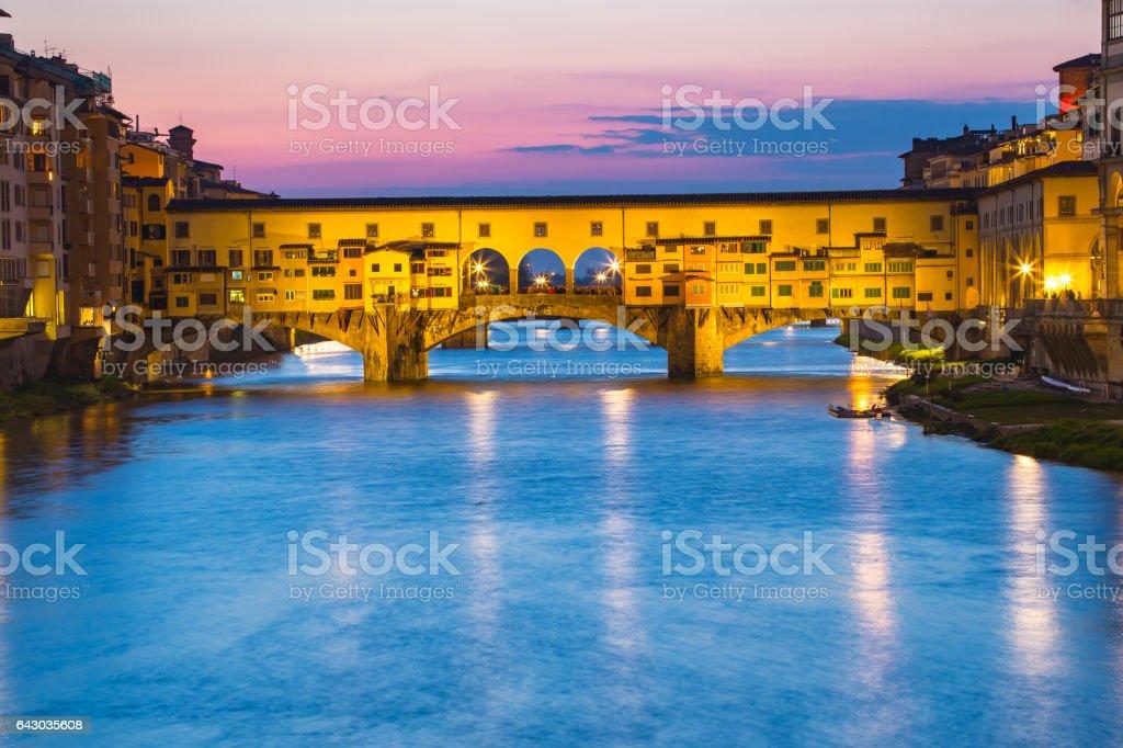 The Ponte Vecchio bridge in  Florence, Firenze, Italy stock photo