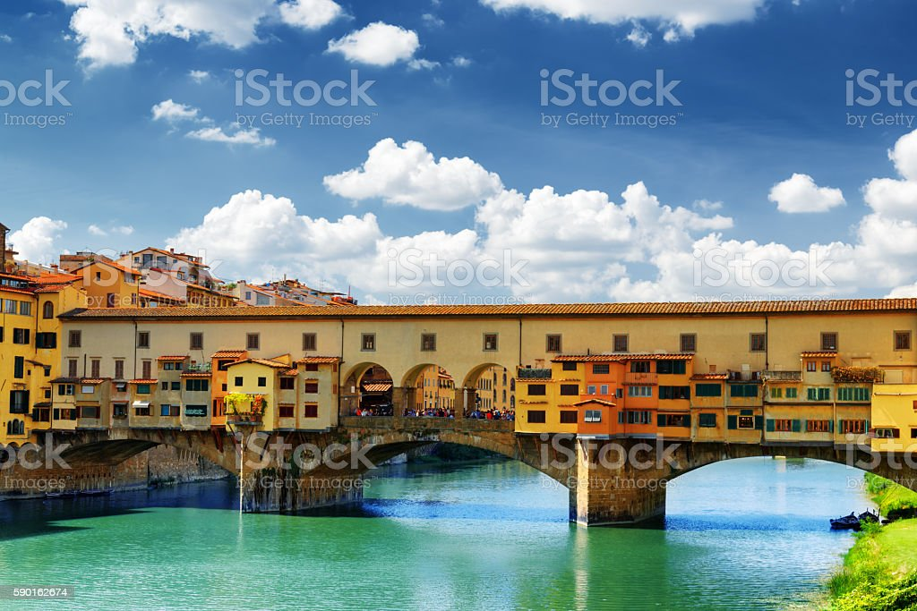 The Ponte Vecchio over the Arno River, Florence, Tuscany, Italy stock photo