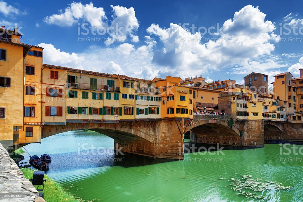 The Ponte Vecchio over the Arno River. Florence, Tuscany, Italy stock photo