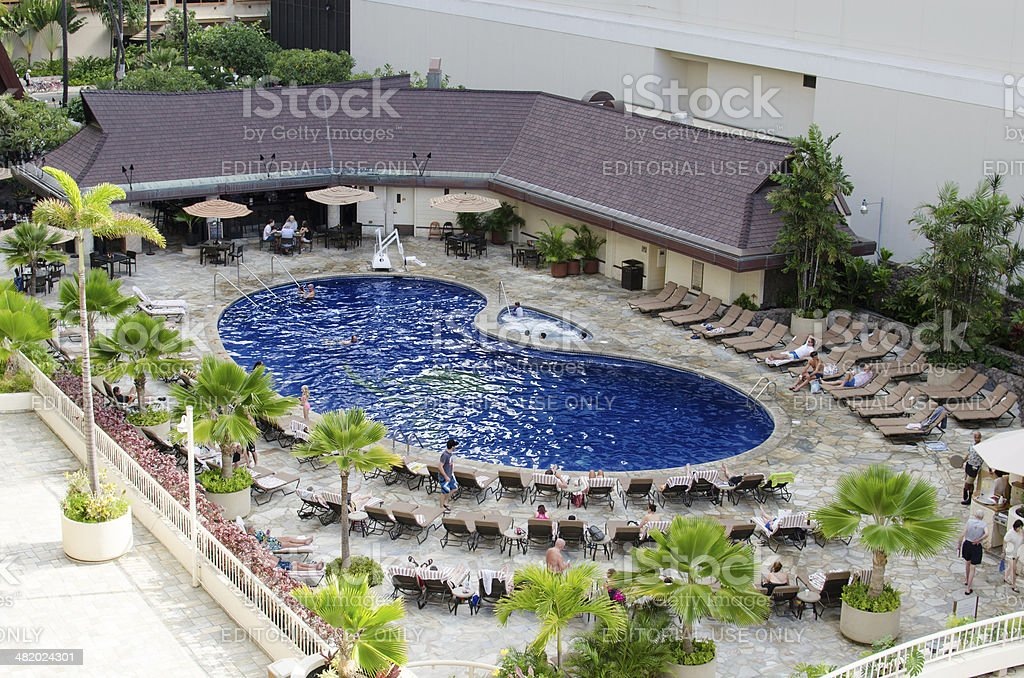 The pool at Outrigger Reef stock photo