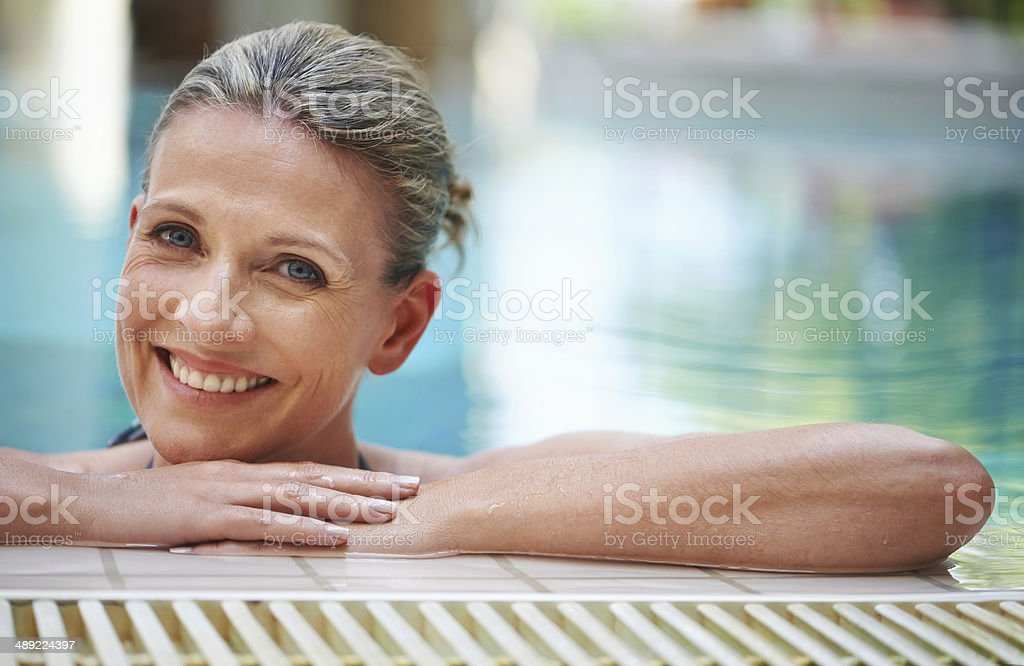 The pool is perfect for a pick-me-up stock photo