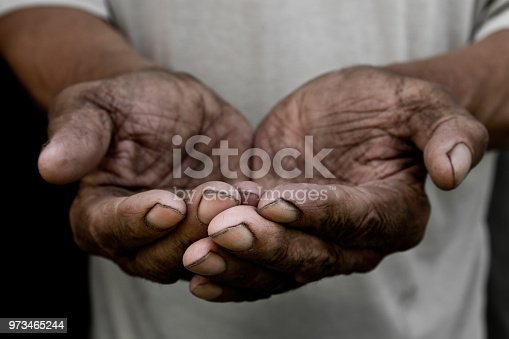 istock The poor old man's hands beg you for help. The concept of hunger or poverty. Selective focus. Poverty in retirement. Alms 973465244