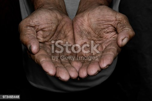 istock The poor old man's hands beg you for help. The concept of hunger or poverty. Selective focus. Poverty in retirement. Alms 973465448