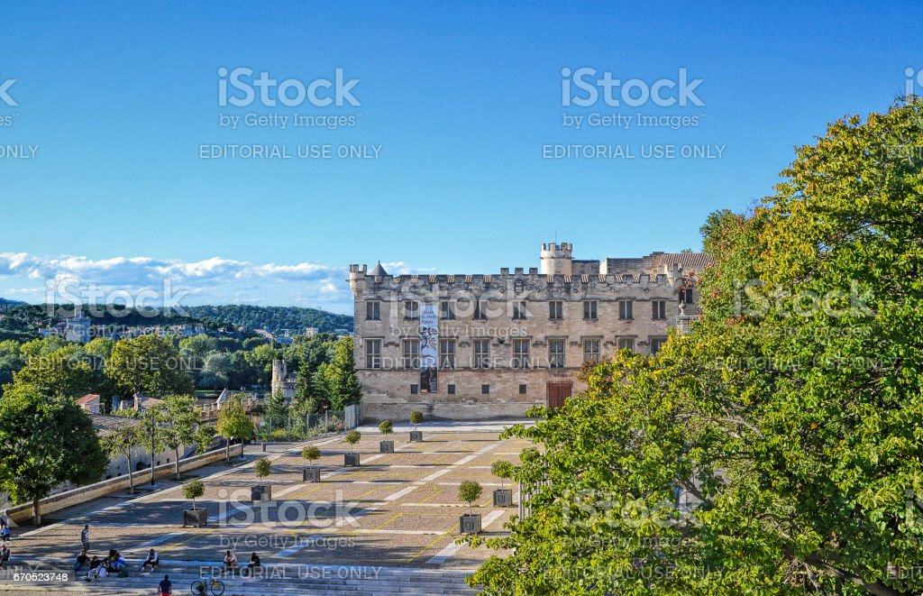 The Popes' Palace in Avignon, France stock photo