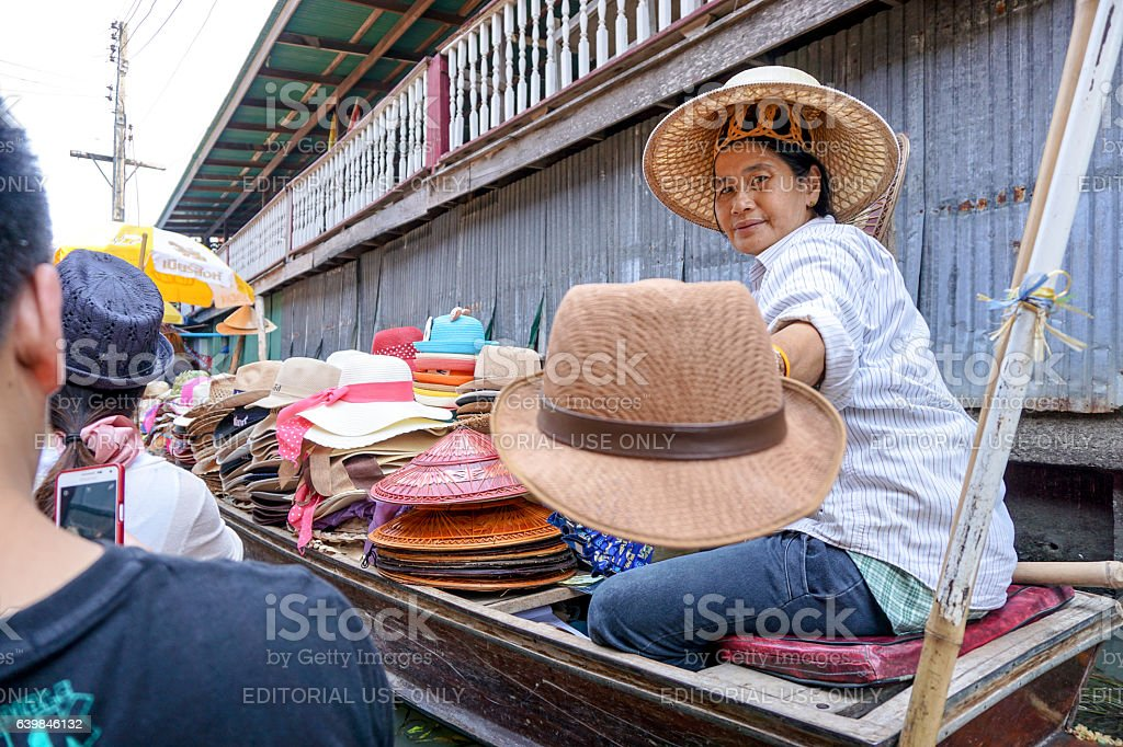 The popular floating market in Ratchaburi. Damnoen Saduak Floating Market stock photo