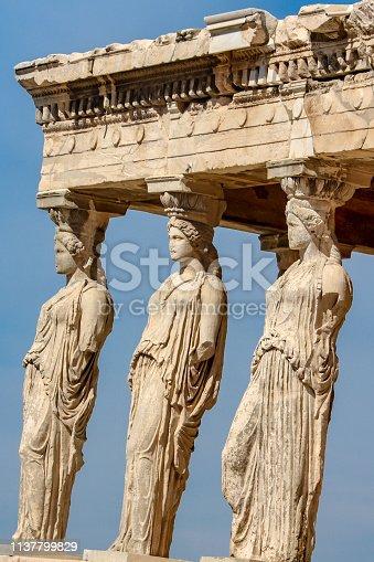 The Porch of the Caryatids, Erechtheion, Acropolis in Athens, Greece