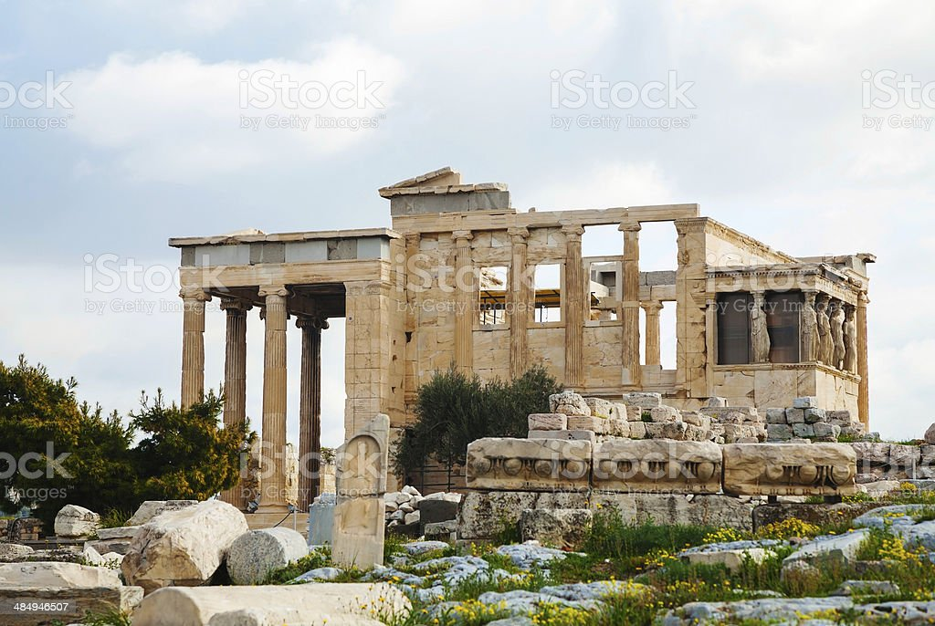 The Porch of the Caryatids in Athens stock photo