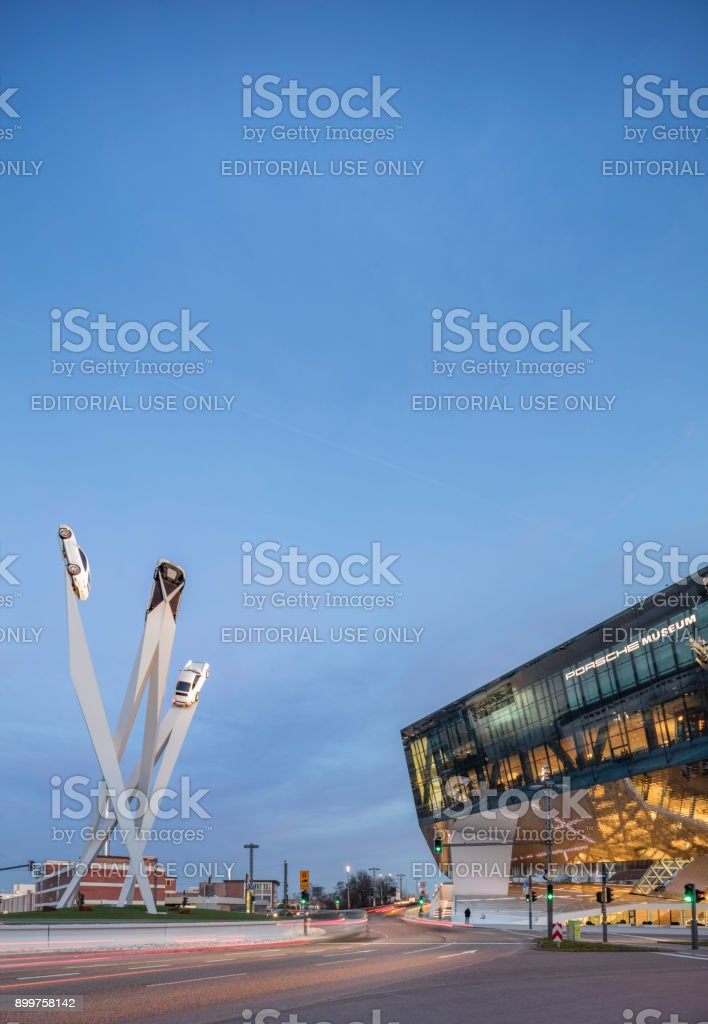 The Porsche Museum in Stuttgart Germany at twilight. stock photo
