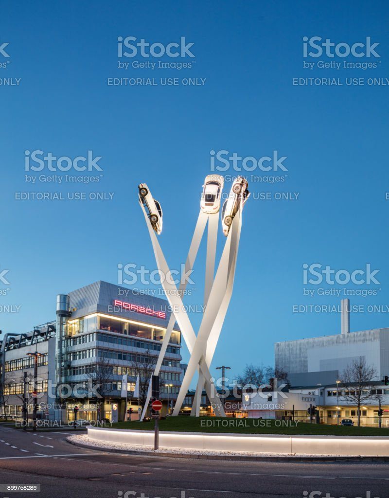 The Porsche Museum in Stuttgart Germany with Gerry Judah's Sculpture 911 stock photo