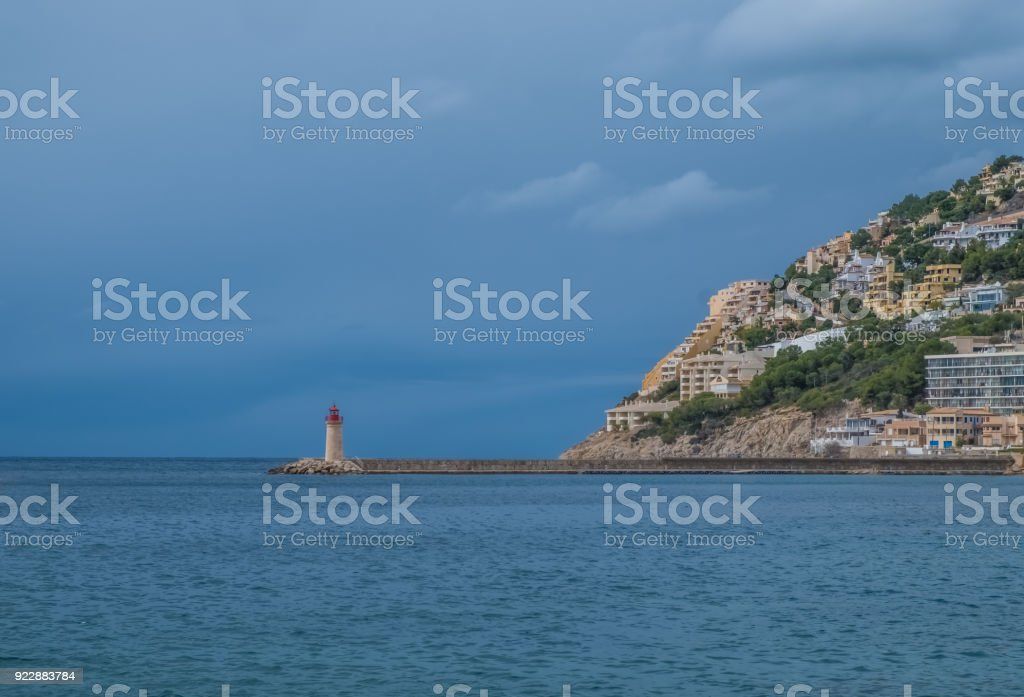 The Port d'Andratx, a resort town, marina and harbor of the  ancient town of Andratx, on the southwest corner of Majorca (Mallorca), Balearic Islands, Spain stock photo