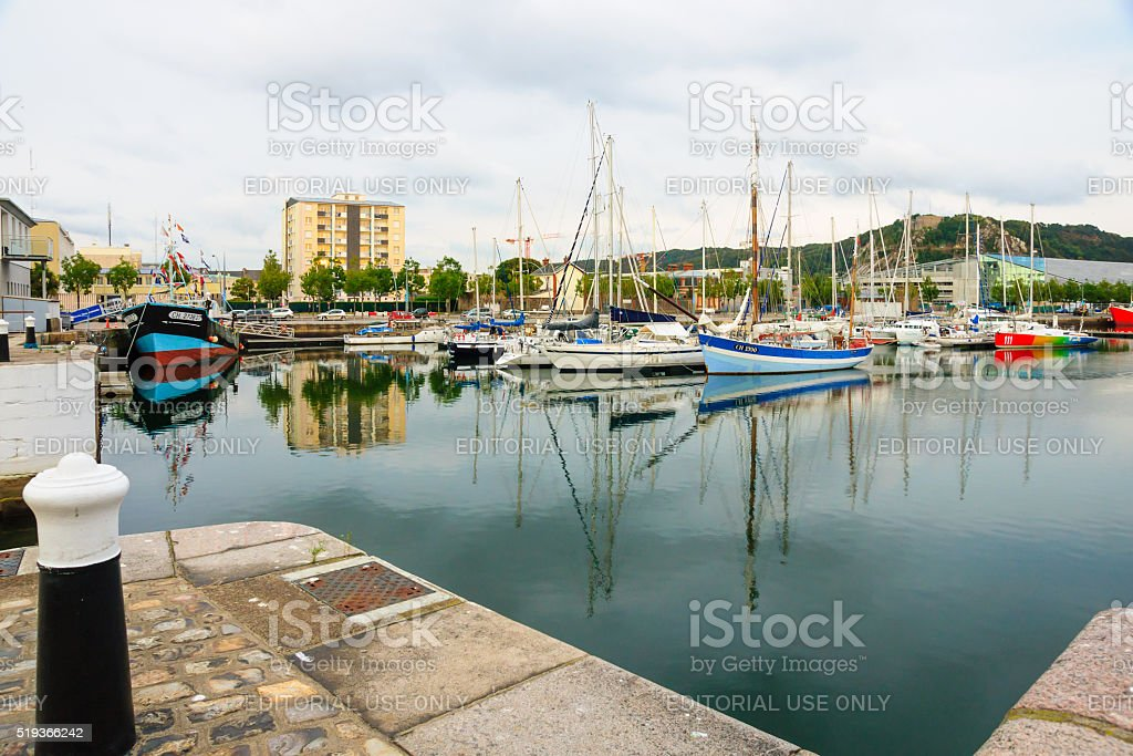 The port in Cherbourg stock photo