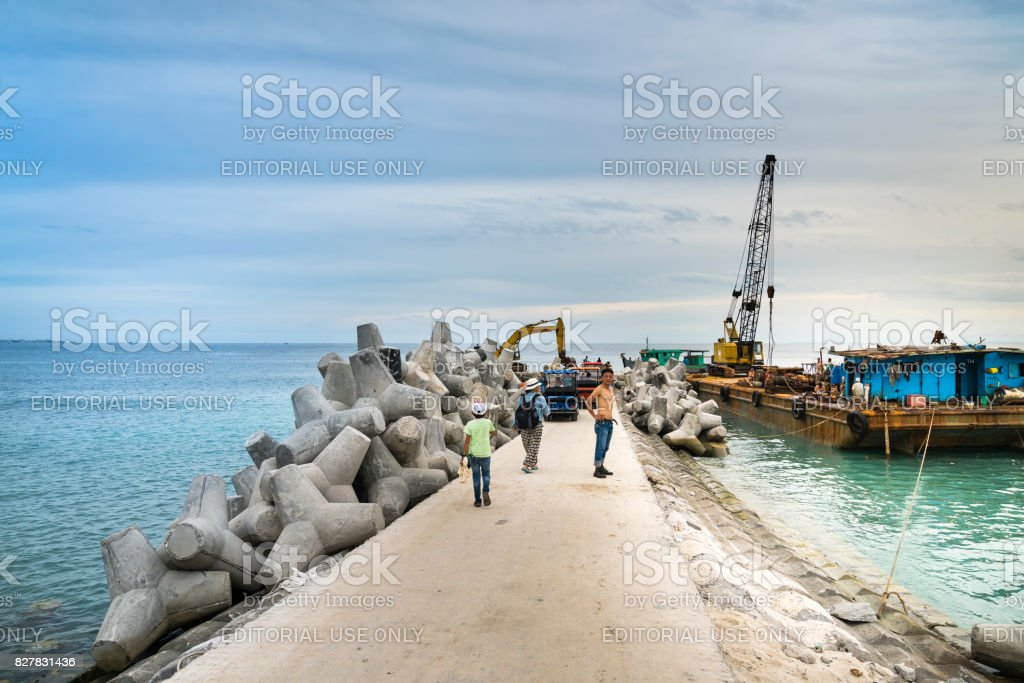 The port is under construction stock photo
