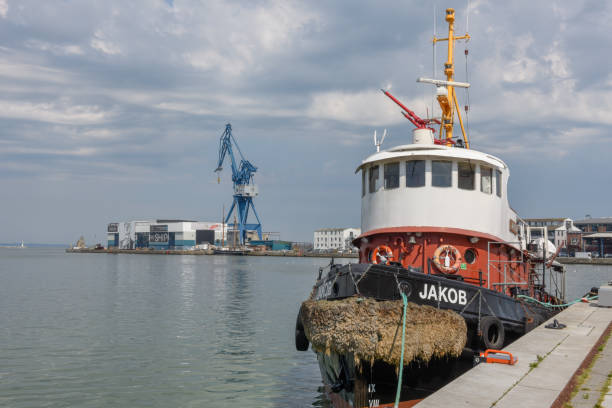 The port of Aarhus in Denmark stock photo