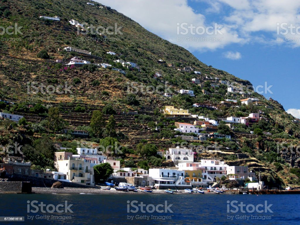 The port of Alicudi stock photo