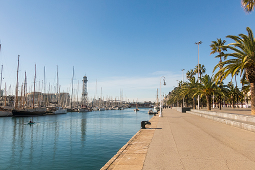 The port of Barcelona, at the end of the Ramblas. Barcelona, Spain
