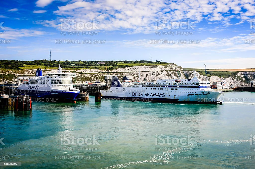 The port of Dover and moored Cross-Channel Ferry boats stock photo