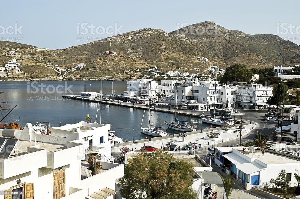 The port of Ios island, Cyclades, Greece stock photo