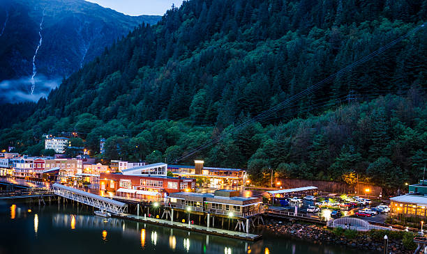 The port of Juneau at dusk stock photo