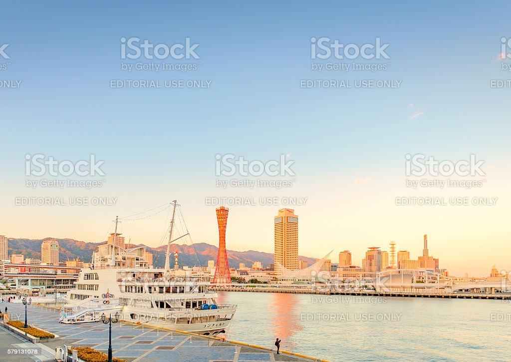 The Port of Kobe in Japan. stock photo