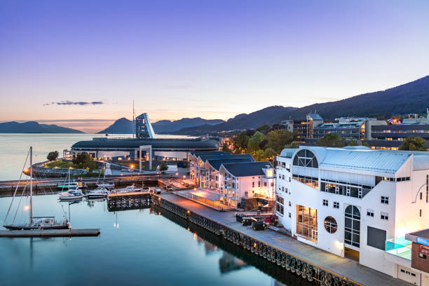 The Port of Molde at evening, Norway. stock photo
