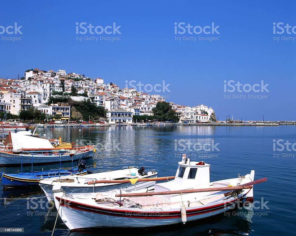 The port of Skopelos royalty-free stock photo