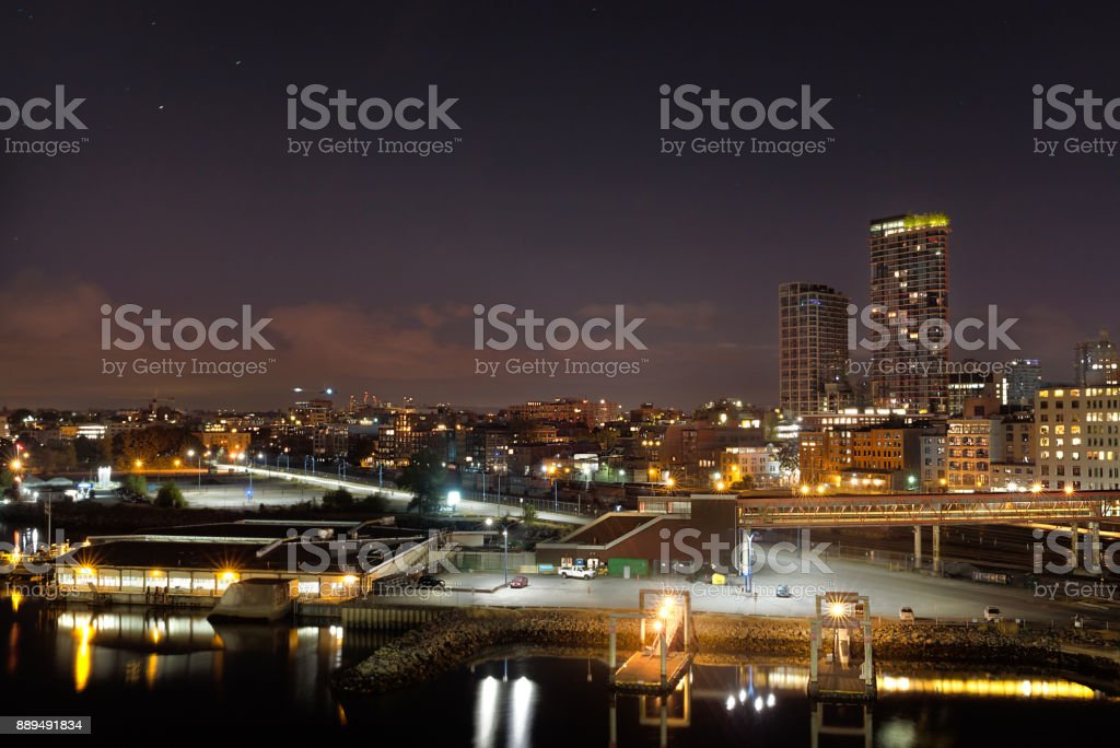 The Port of Vancouver at night. stock photo