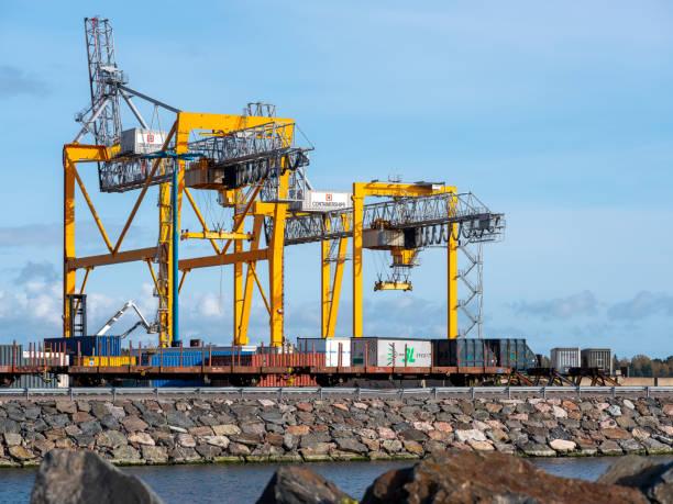 The port of Vuosaari, opened in 2008, is the biggest harbour in the metropolitan area. stock photo
