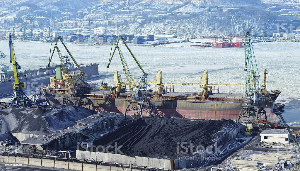 The port terminal for coal loading royalty-free stock photo