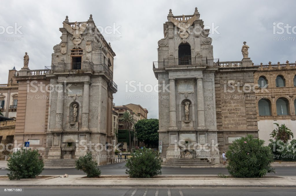 The Porta Felice is main gate of Palermo in Sicily, Italy. stock photo