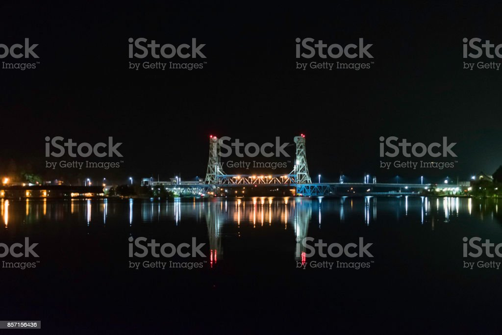 The Portage Lake Lift Bridge stock photo