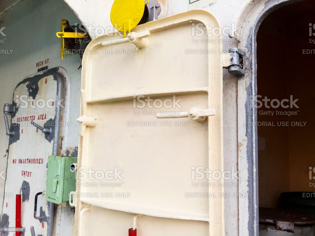The porthole of the porthole in the ship's cabin stock photo