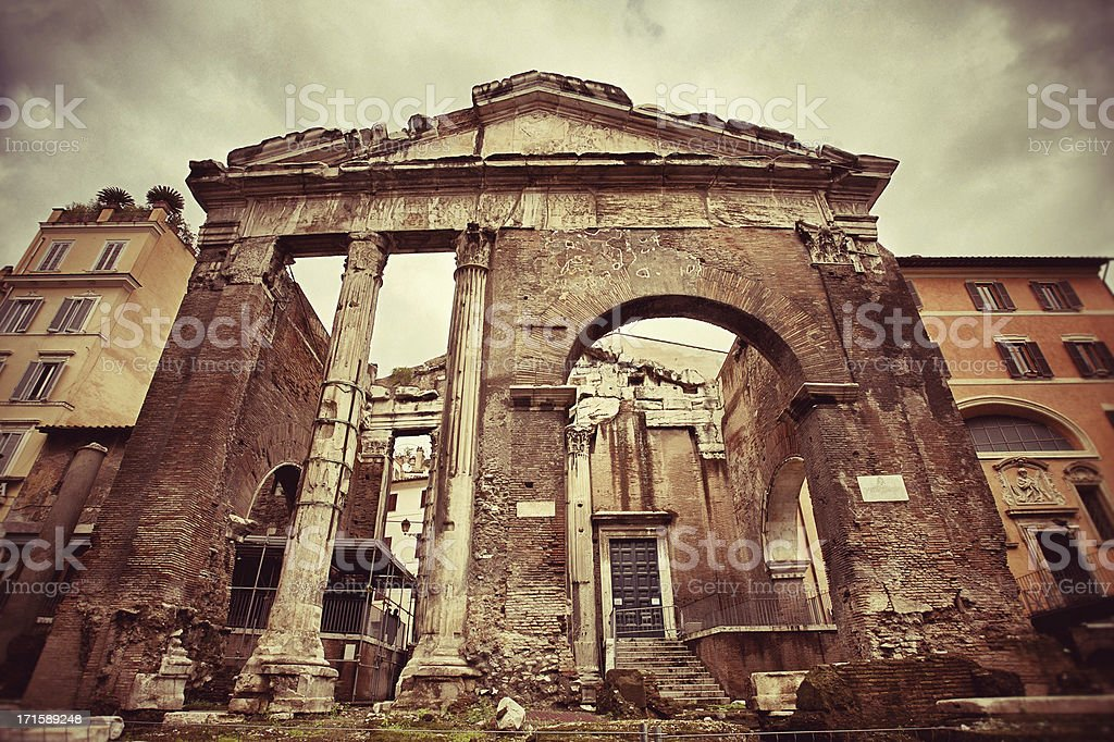 The Porticus Octaviae in Rome royalty-free stock photo
