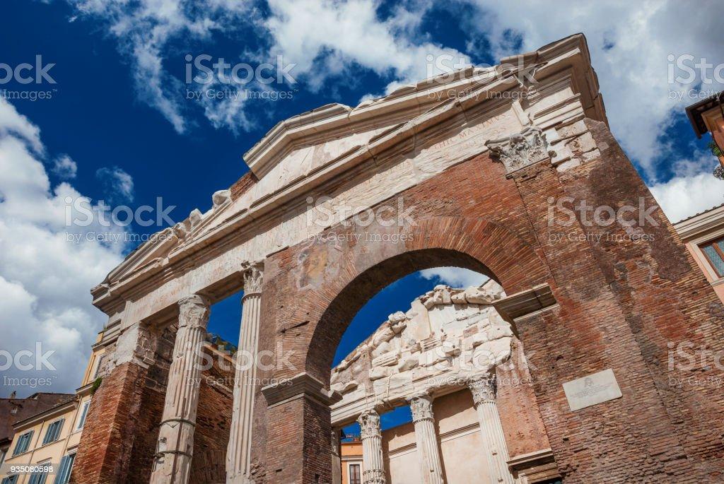 The Porticus Octaviae ruins in Rome - foto stock