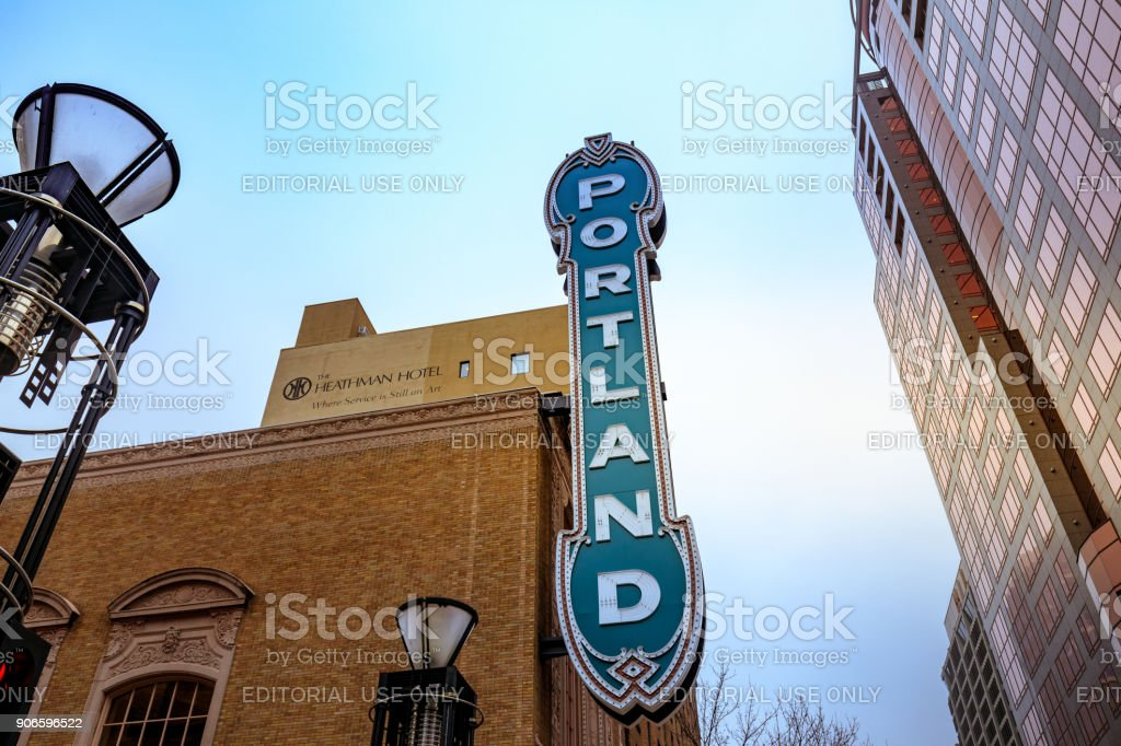 The Portland Sign On The Arlene Schnitzer Concert Hall In Oregon - Schnitzer concert hall