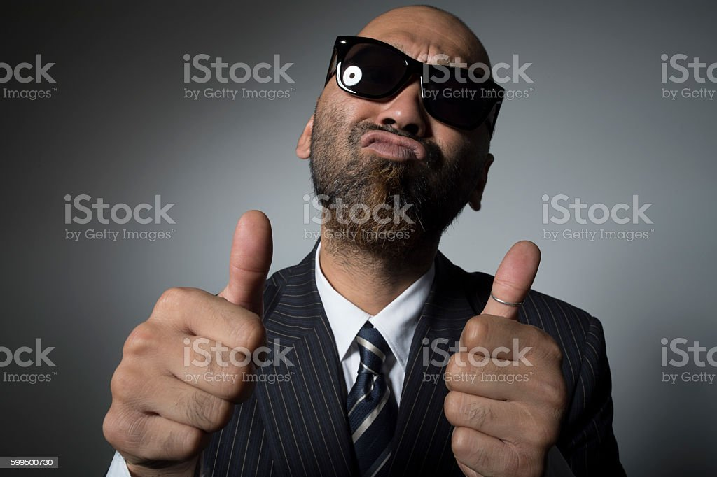 The Portrait of a Man with sunglasses. stock photo