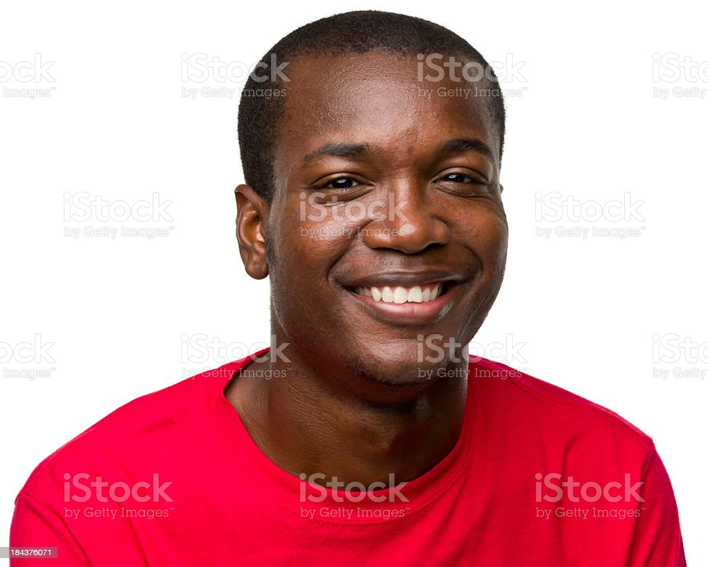 The portrait of an African American male in a red shirt stock photo