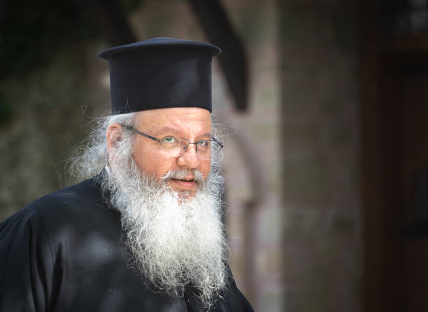 The portrait of orthodox priest stock photo