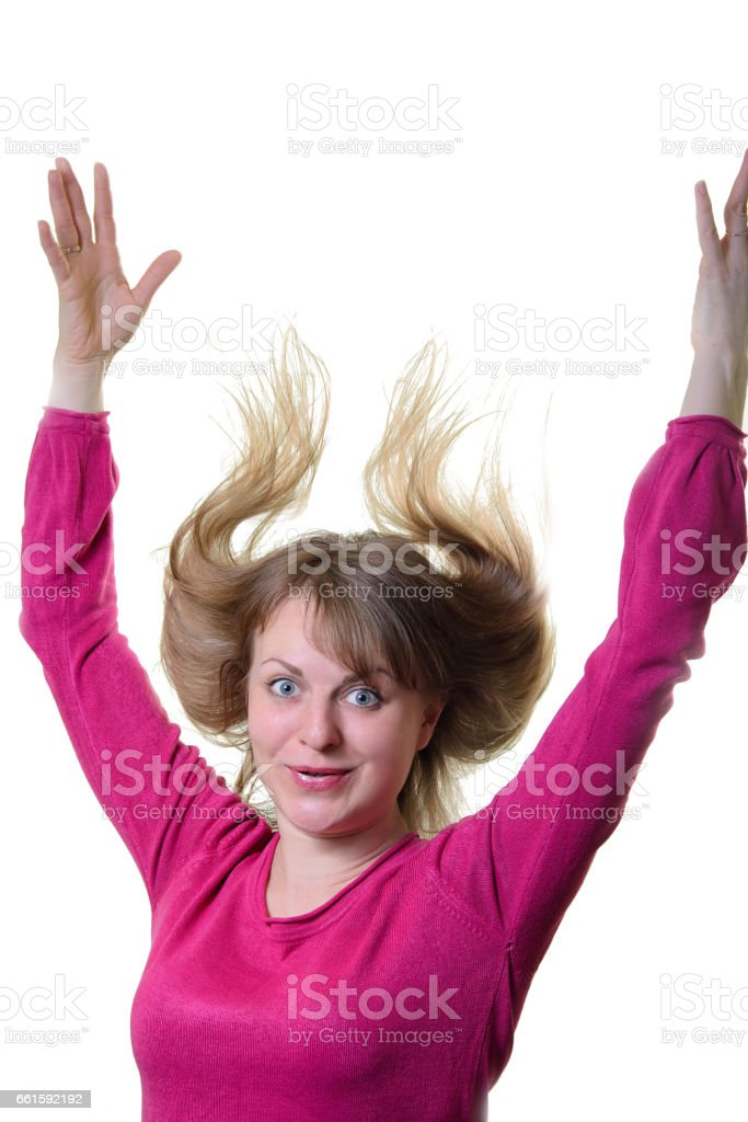 The portrait of the little girl is cheerful. Hair to the top. stock photo