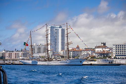 The Portuguese school ship Sagres in the harbor of Ponta Delgada on the Azorean island San Miguel