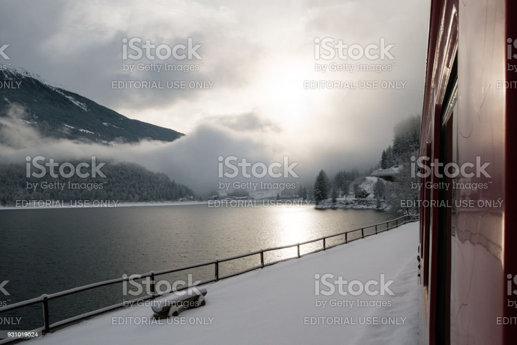 The Poschiavo lake seen from the Bernina Express train stock photo