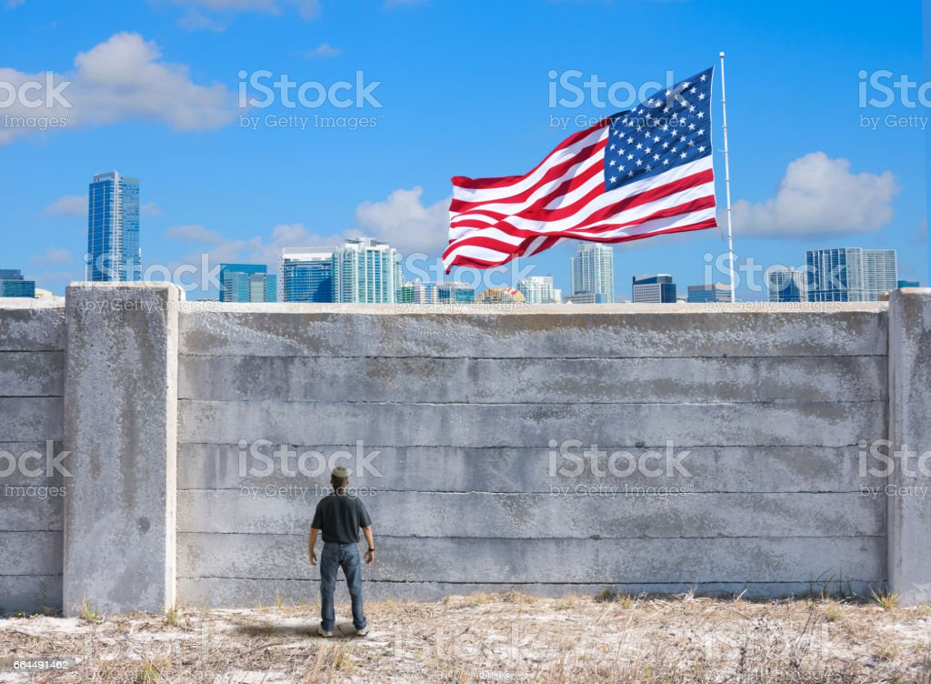 The possible wall between the United States of America and Mexico and Canada stock photo